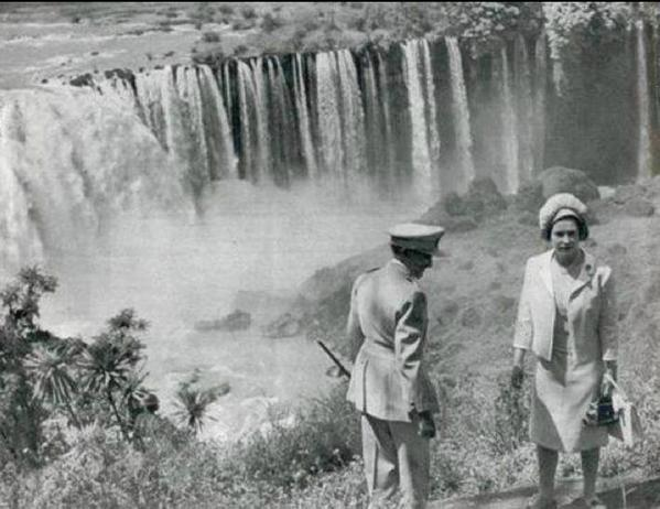 The British monarch visits the Blue Nile falls in 1965, guest of the Ethiopian emperor, Hailie Selassie