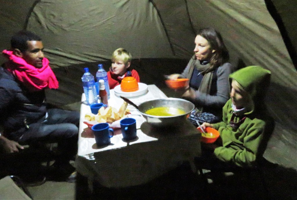 Dave and his dining tent - a brilliant idea for cold Simien evenings