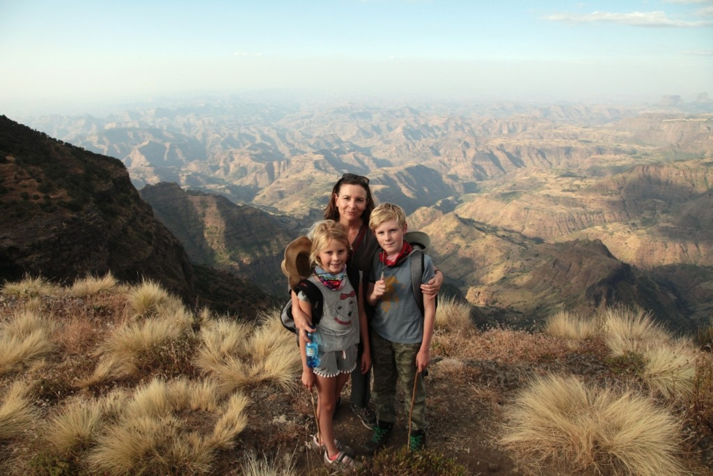 Posing on the edge of the Simien escarpment