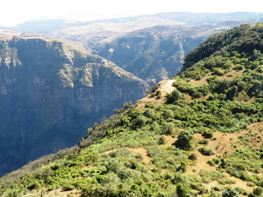 Walkers on one of the footpaths snaking along the Simien escarpment