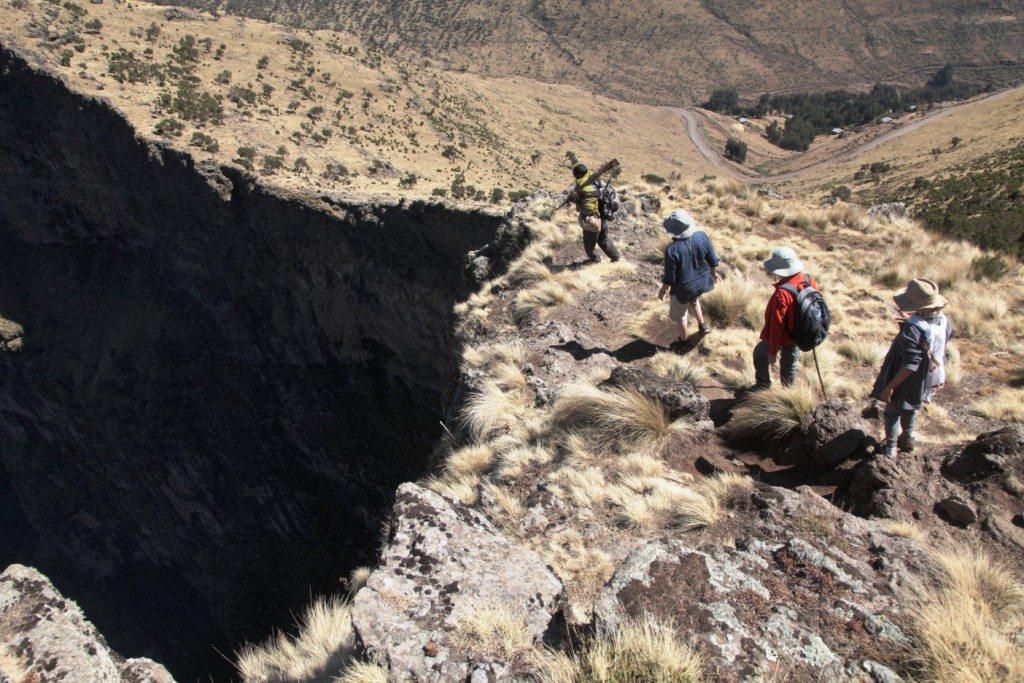 Approaching the edge of the escarpment in the Simien Mountains - health and safety look away